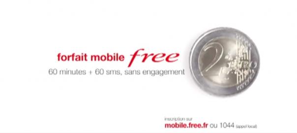 Free Mobile : Spot publicitaire pour le forfait à 2 euros à la TV
