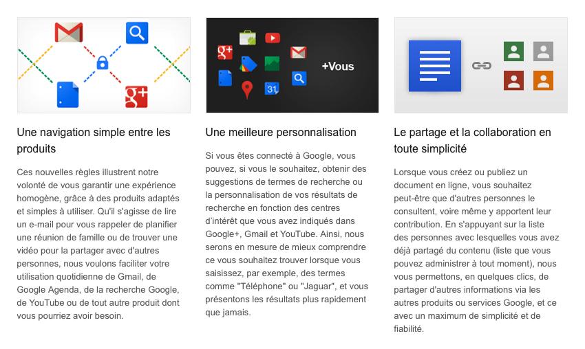 Google : Règles de confidentialité unifiées