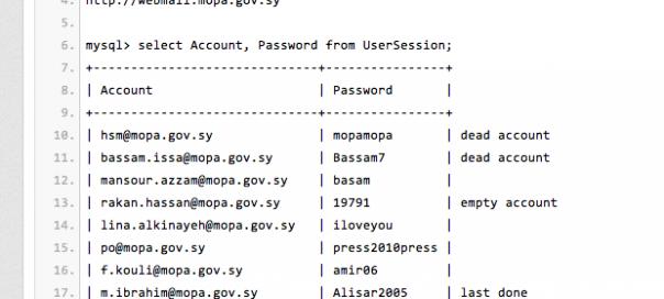 78 comptes emails du gouvernement Syrien piratés