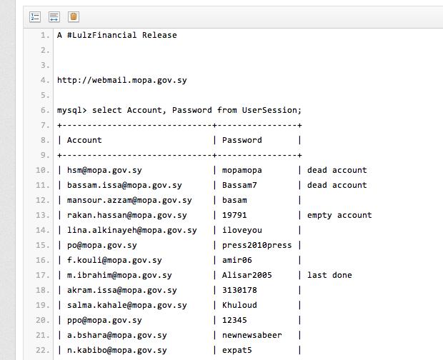 Piratage des comptes mails du gouvernement Syrien