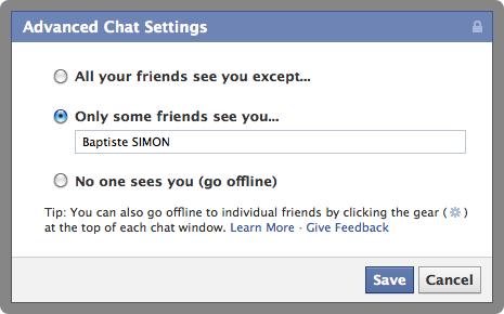 Facebook : Paramètres avancés du chat