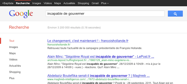 "François Hollande : Google Bombing ""INCAPABLE DE GOUVERNER"" - WebLife"