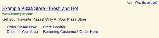 Google AdWords Annonce avec sitelinks