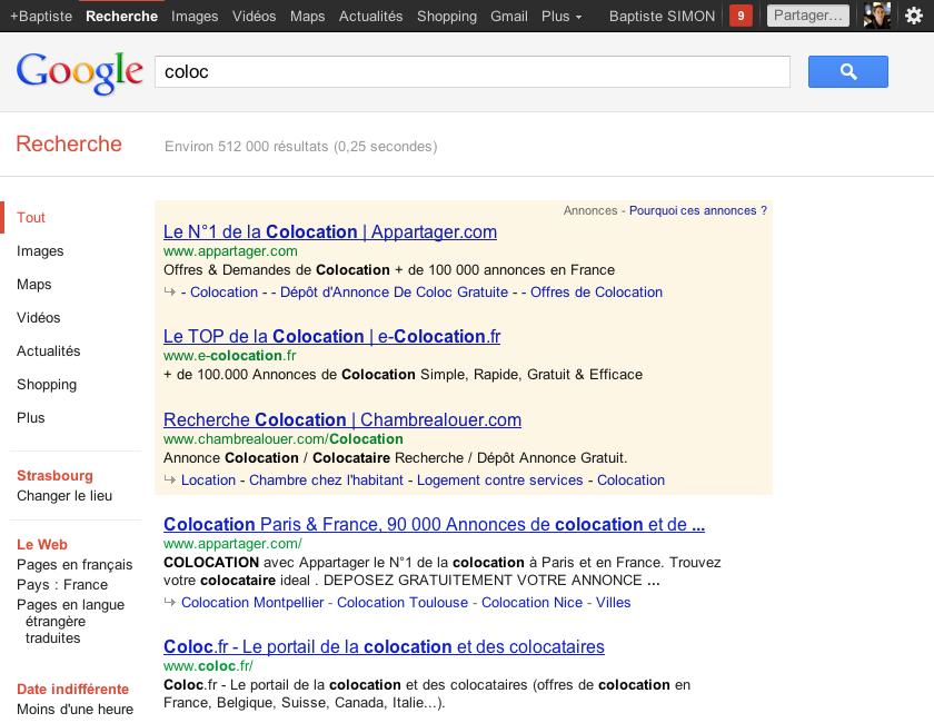 Google : Flèche grise devant les sitelinks inline