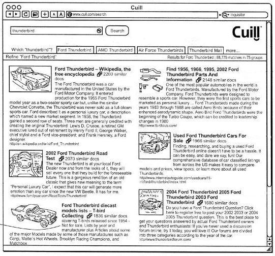 Cuil : Recherche onglet