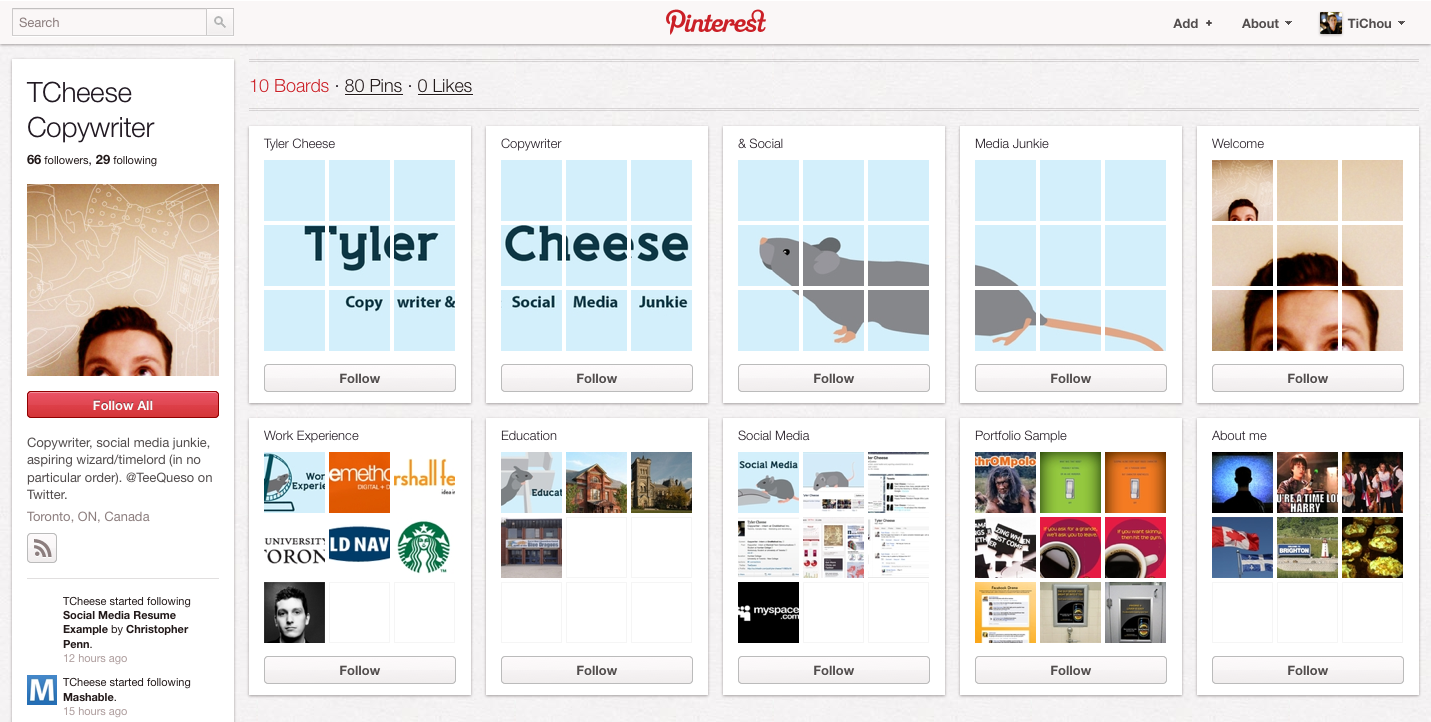 pinterest   pr u00e9sentation de cv via les boards et pins