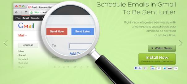 RightInBox : Gmail et la planification d'envois de mails