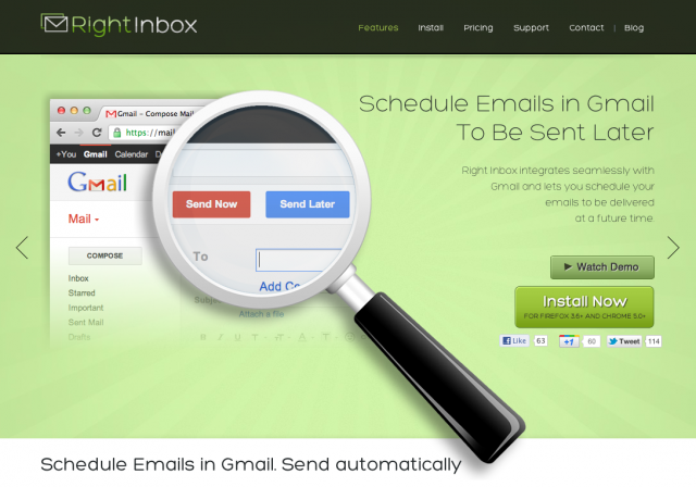 RightInBox : Planification mails Gmail