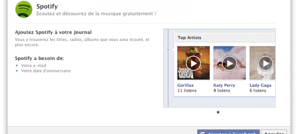 Facebook : Ajoutez Spotify à votre Journal