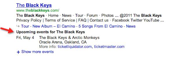 Date de concert à venir dans Google avec le groupe The Black Keys