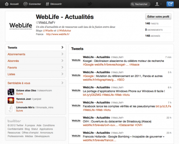 Twitter : Nouvelle interface
