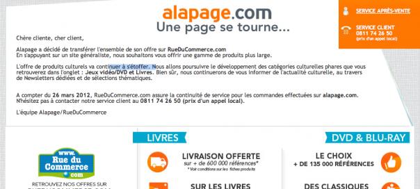 Alapage : Fermeture du site