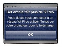 Apple : Augmentation de la taille maximale de téléchargement en 3G à 50 Mo