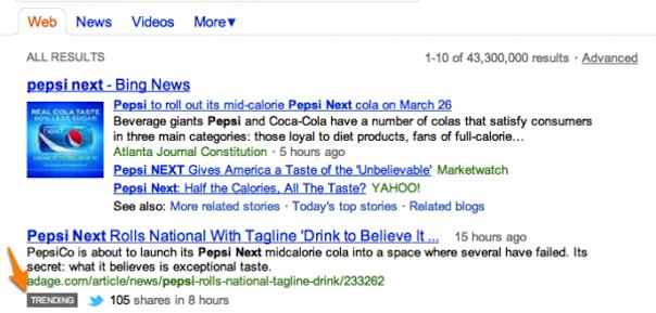 Bing : Trending tweets