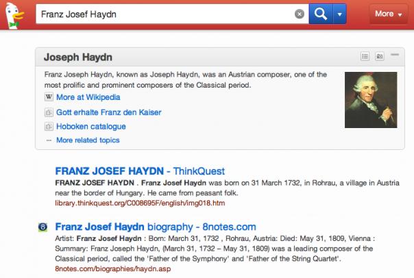 DuckDuckGo : Franz Josef Haydn