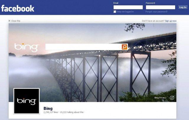 Facebook : Bing en promotion sur la page déconnexion