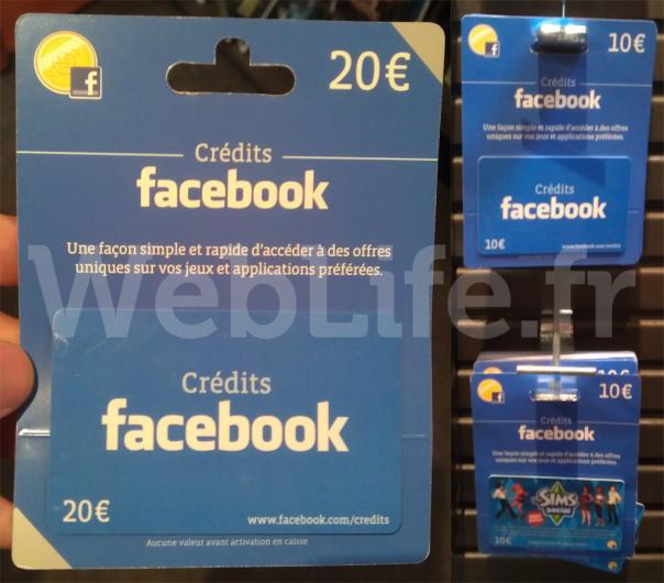 Cartes de crédits Facebook