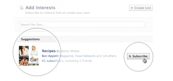 Facebook : Création liste d'intérêts