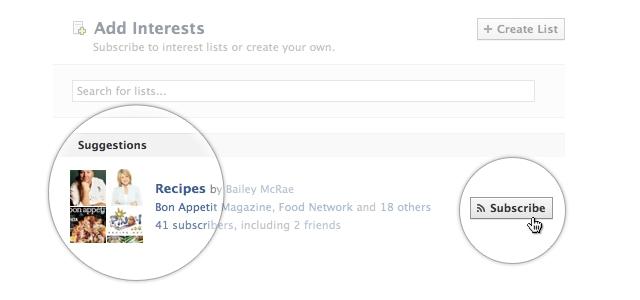 Facebook : Liste d'intérêts
