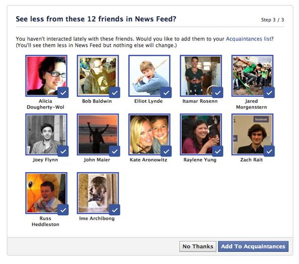 Facebook : Liste des connaissances