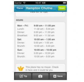 Foursquare : Ajout des horaires des commerces