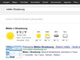 Google ; OneBox météo