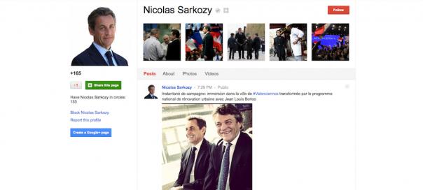 Google+ : Le président Nicolas Sarkozy ouvre un compte