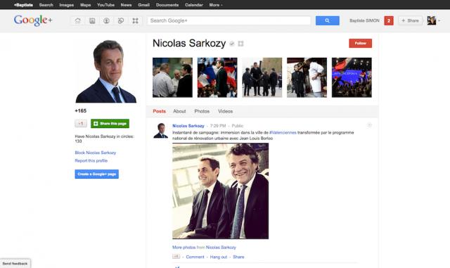 Google+ : Nicolas Sarkozy