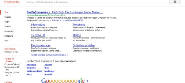 Google : Unique résultat de recherche pour Rue Du Commerce