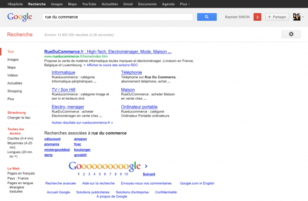 Google : Résultat unique dans les SERPS