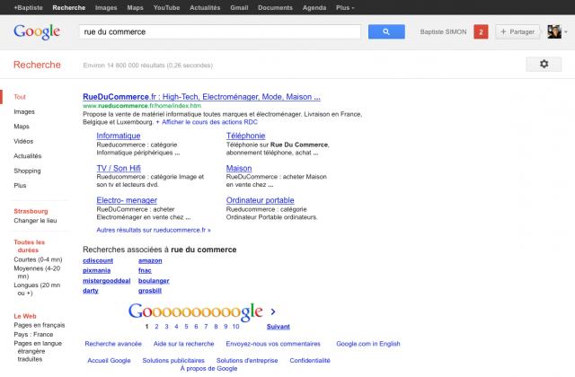 ef2bf2ca2cab Google   Unique résultat de recherche pour Rue Du Commerce - WebLife