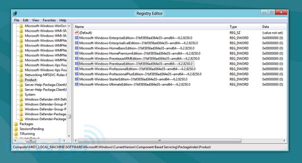 Version Windows 8, d'après le registre de la version Consumer Preview