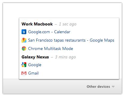 Menu Chrome pour récupérer les onglets ouverts sur les autres équipements
