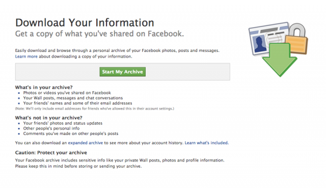 Facebook : Download your information