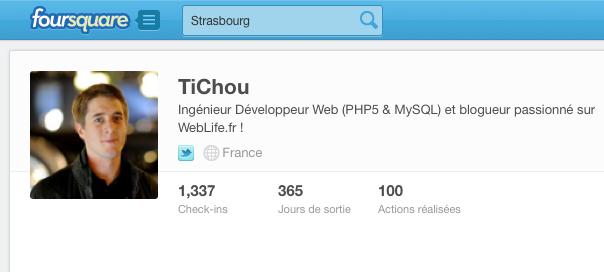 Foursquare : Biographie dans le profil