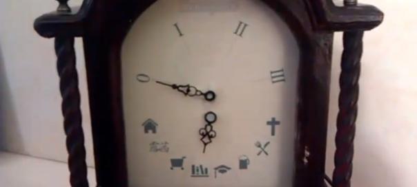 Foursquare Clock : Localisation affichée dans une horloge