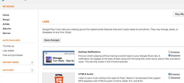 Google Music : Ouverture d'un lab avec de nouvelles fonctionnalités