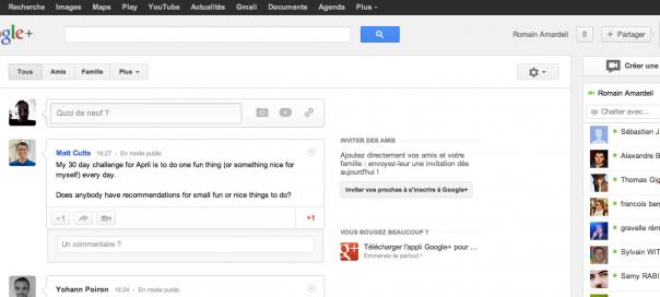 Google+ : Nouveau design de l'interface utilisateur