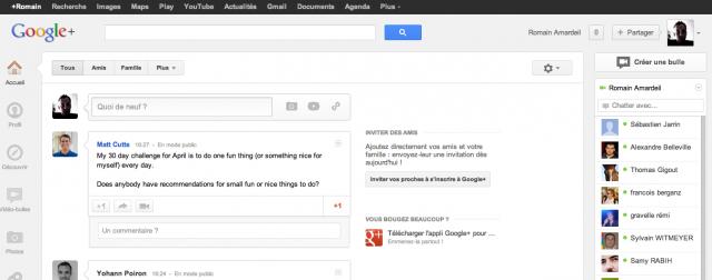 Nouveau design Google+