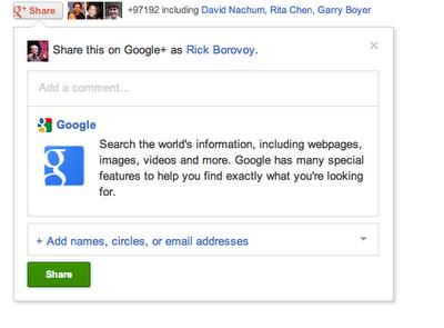 Google+ : Bouton partage