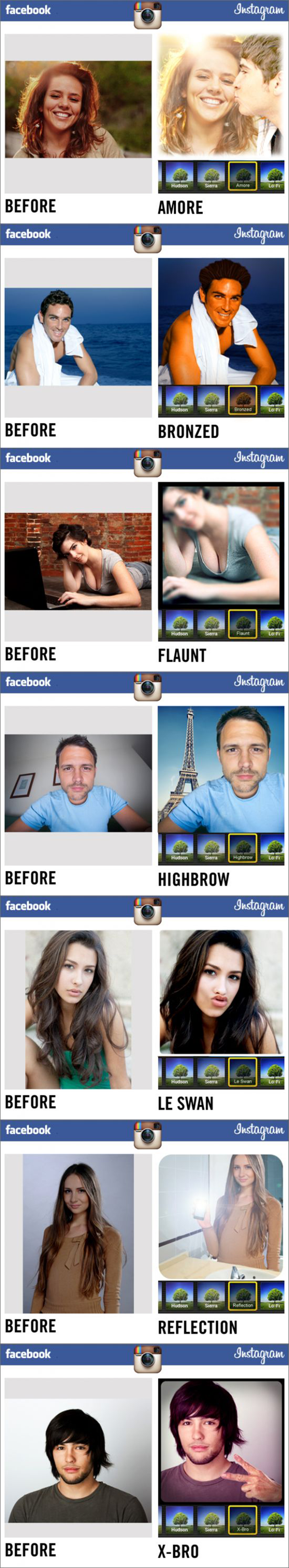 Instagram : Filtres de photos sur Facebook