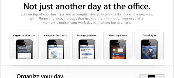 Apple : Lancement d'une page iPhone pour entreprise