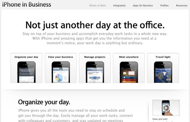 Apple : Page Entreprise pour iPhone