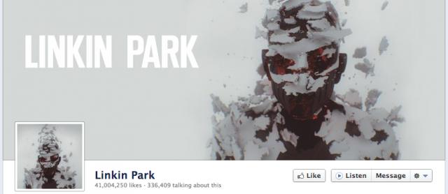 Page Facebook Linkin Park avec bouton écoute