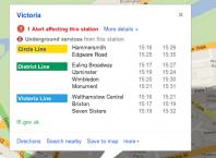Retards du métro de Londres en prévision des JO sur Google Maps