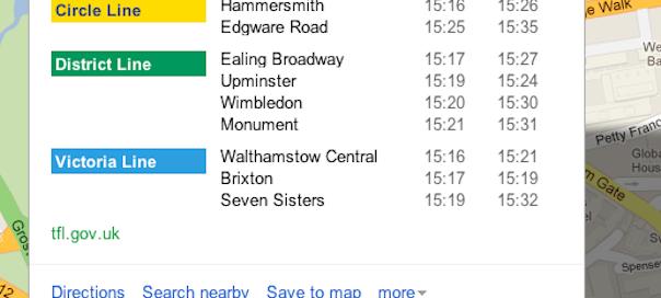Google Maps : Retards du métro de Londres en prévision des JO