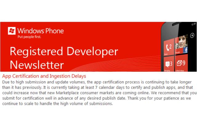 Message aux développeurs Windows Phone