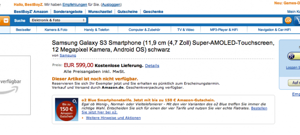 Samsung Galaxy S III : Apparition furtive sur Amazon