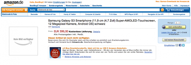 Le Samsung Galaxy S III sur l'Amazon version allemande