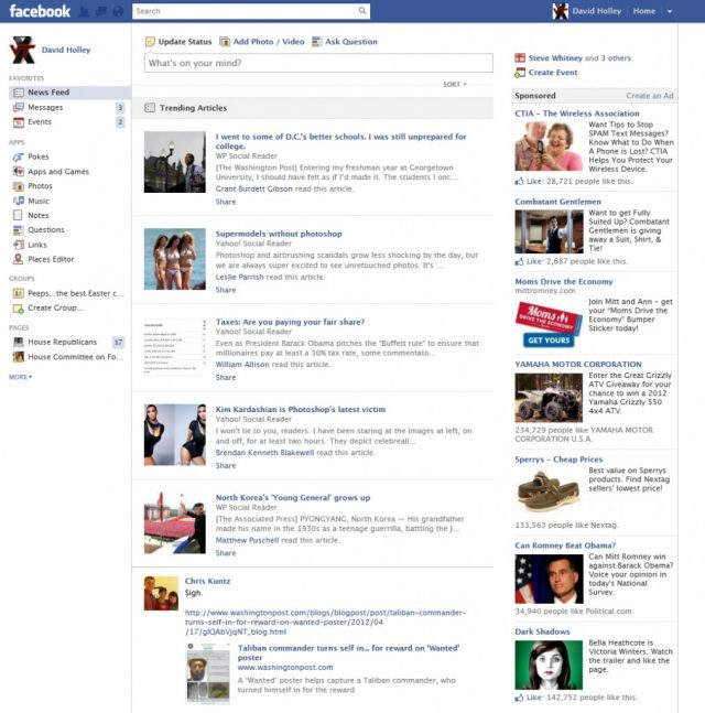 Facebook: Trending articles
